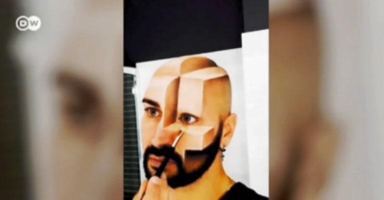 Maquiador italiano cria ilusões de óptica no próprio rosto